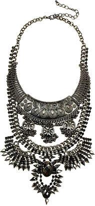 Eye Candy Los Angeles Eye Candy La Dark Silver Bib Necklace