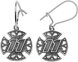 "Insignia Collection NASCAR Denny Hamlin Sterling Silver ""11"" Maltese Cross Drop Earrings"