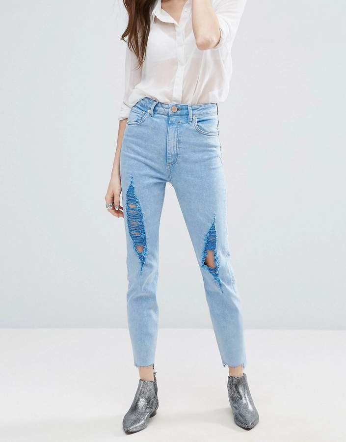 Asos ASOS FARLEIGH High Waist Slim Mom Jeans In Fran Light Mottled Wash with Super Busts and Stepped Hem