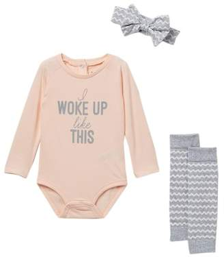 Petit Lem PL Baby by Raglan Bodysuit 3-Piece Set (Baby Girls)