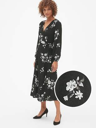 Gap Long Sleeve Wrap Midi Dress