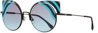 Fendi Hypnoshine Striped Cutout Sunglasses