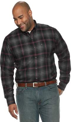 Izod Big & Tall Classic-Fit Plaid Flannel Button-Down Shirt