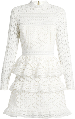 SELF-PORTRAIT High-neck star-lace tiered mini dress $435 thestylecure.com