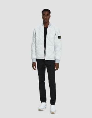 Stone Island Garment Dyed Quilted Micro Yarn Down Bomber Jacket in Ice