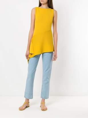 Egrey knit asymmetric blouse