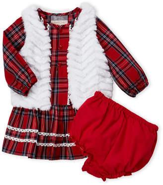 Pippa & Julie Infant Girls) 3-Piece Faux Fur Vest & Plaid Dress Set