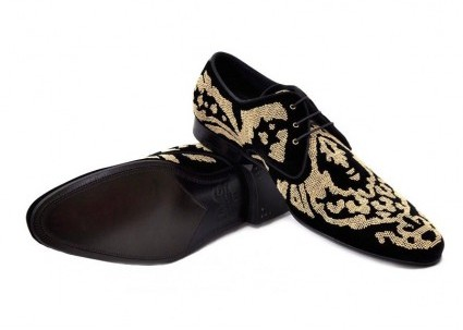 Dolce & Gabbana pristine (PR Black Velvet Studded Shoes Men's 44.5