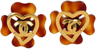 One Kings Lane Vintage Chanel Faux-Tortoise Logo Earrings - 1993 - Vintage Lux