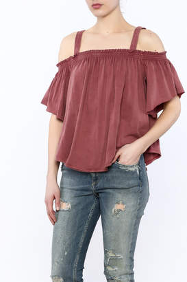 Free People Washed Maroon Top