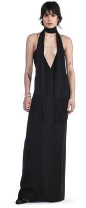 Alexander Wang V-Neck Slip Gown With Sheer Insert