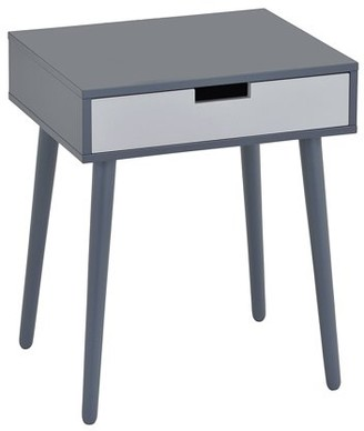 Pilaster Designs Maddy Gray & White Wood Transitional Occasional Side End Table or Nightstand Bedside Table With 1 Storage Drawer