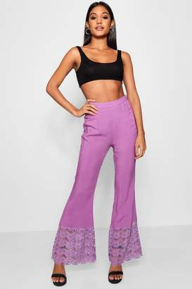 boohoo Lace Trim Wide Leg Trouser