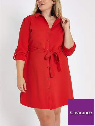 River Island RI Plus Buttoned Shirt Dress - Red