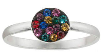 BRIDGE JEWELRY Pure Silver-Plated Multicolor Crystal Disc Ring