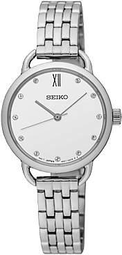 Seiko SUR697P1 Women's Swarovski Crystal Bracelet Strap Watch, Silver/White