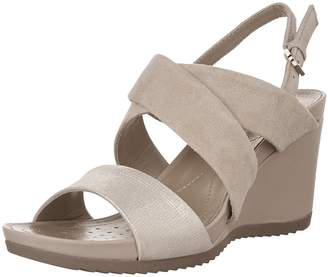 Geox Women's D New RORIE A Heeled Sandal, Light Taupe/Light Gold