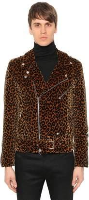 Leopard Velvet Biker Jacket