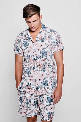 boohoo Pink Floral Revere Short Sleeve Shirt