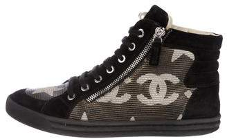 Chanel CC Suede High-Top Sneakers