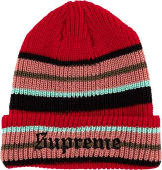 Supreme Bright Stripe Beanie - 'FW 18' - Red