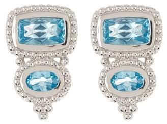 Judith Ripka Sterling Silver Harmony Double Stone Stud Earrings