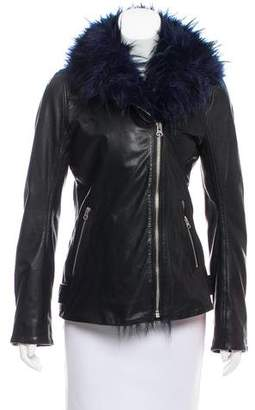 7 For All Mankind Faux Fur-Accented Leather Jacket