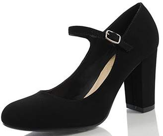 City Classified Comfort Women's Nola Faux Nubuck Leather Mary Jane Chunky High Heel