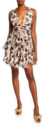 Caroline Constas Paros Printed Tiered Plunging Mini Dress