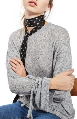 Women's Topshop Tie Sleeve Marled Tee $35 thestylecure.com