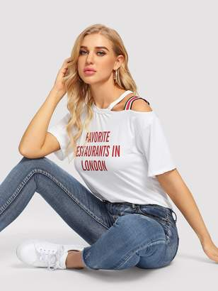 Shein Striped Tape One Cold Shoulder Slogan Tee