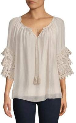 Le Marais Lace Layered-Sleeve Silk Blouse