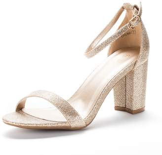 DREAM PAIRS CHUNK Women's Evening Dress Low Chunky Heel Open Toe Ankle Strap Stiletto Wedding Pumps Sandals Nude-Suede Size 9