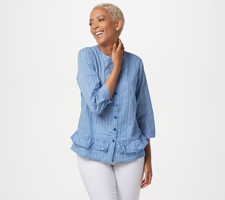 Joan Rivers Classics Collection Joan Rivers Gingham Button Front Blouse with Ruffles