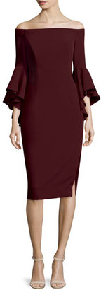 Milly Selena Off-The-Shoulder Sheath Dress, Bordeaux $485 thestylecure.com