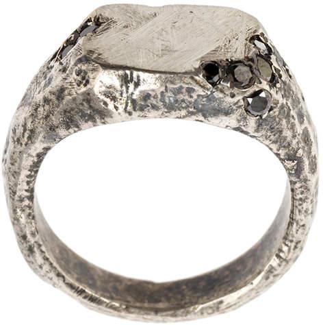 Tobias Wistisen Silberring mit schwarzem Diamant