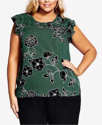 City Chic Trendy Plus Size Striped Floral-Print Top