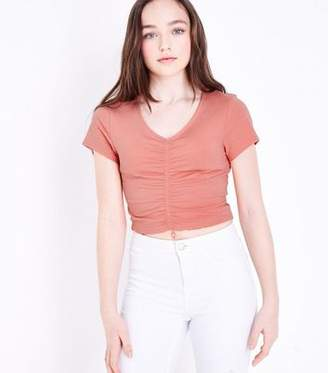 New Look Girls Coral Ruched Front T-Shirt