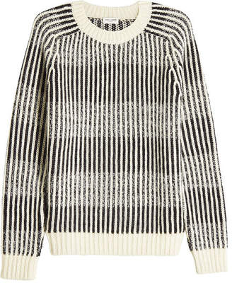Saint Laurent Jacquard Stripe Knit Pullover with Wool, Alpaca and Mohair