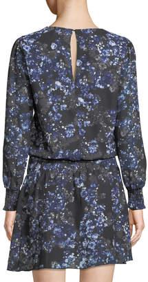 Parker Floral Long-Sleeve Drop-Waist Dress