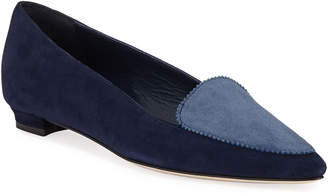 18bd006c2fb74 Manolo Blahnik Agos Two-Tone Suede Ballerina Flat Loafers