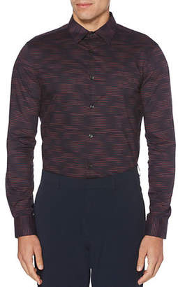 Perry Ellis Printed Long-Sleeve Button-Down Shirt