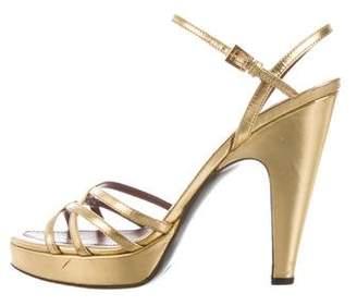 Prada Metallic Ankle Strap Sandals