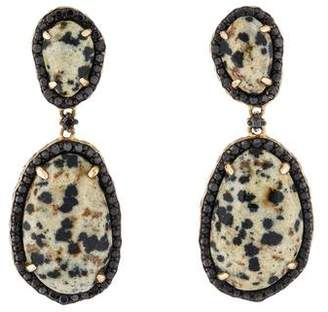 Phillips House 14K Dalmatian Stone & Diamond Drop Earrings