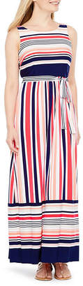 Studio 1 Sleeveless Stripe A-Line Dress-Petites