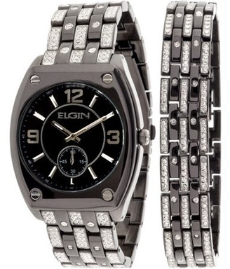 Elgin Men's Crystal Accented Ionic Watch and Matching Bracelet, Black