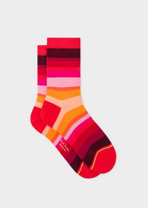 Paul Smith Women's Red Tonal-Stripe Socks