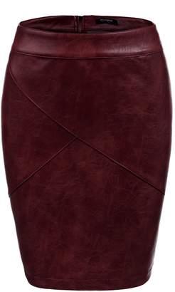 f652c522d3580 Zeagoo Women Faux Leather Bodycon Basic Versatile High Waisted Pencil Skirt  Camel XXL