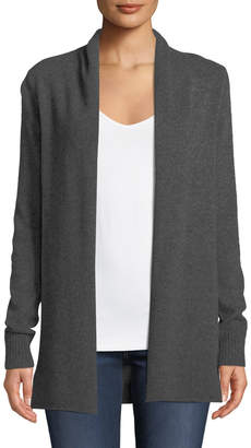 Neiman Marcus Cashmere Open-Front Computer Cardigan, Gray