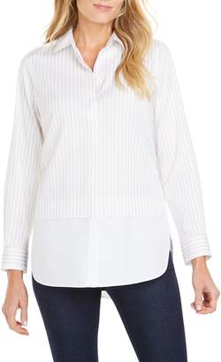 Foxcroft Giselle Layered Look Stripe Shirt